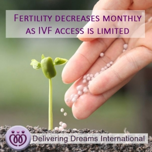 Fertility decreases monthly as IVF access is limited
